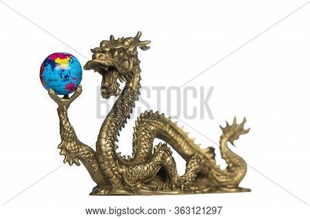 Chinese Dragon Holding A Globe, Turned To Asia And Australia.  Isolated On White