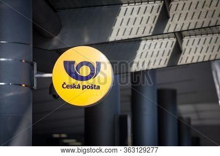 Prague, Czechia - October 31, 2019: Logo Of Ceska Posta On Their Local Post Office For Prague. Ceska