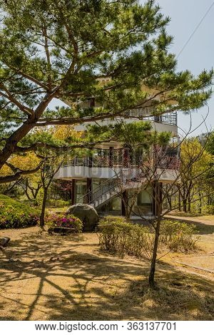 Jinan, South Korea; April 21, 2020: Three Story Pavilion Behind Evergreen Tree In Rural Public Park.