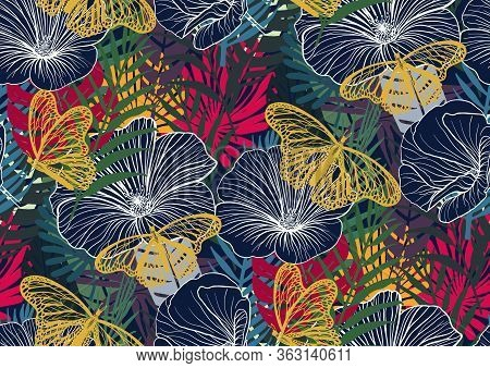 Seamless Pattern With Trendy Tropical Summer Motifs, Butterflies, Exotic Flowers, Leaves And Plants.
