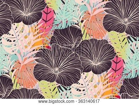 Seamless Pattern With Trendy Tropical Summer Motifs, Exotic Flowers, Leaves And Plants. Green, Blue,