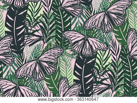 Seamless Pattern With Trendy Tropical Summer Motifs, Pink Butterflies, Exotic Leaves And Plants.