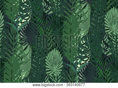 Seamless Pattern With Trendy Tropical Summer Motifs, Exotic Leaves And Plants. Gold Glitter Texture,