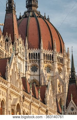 Detail of the parliament building in Budapest, Hungary