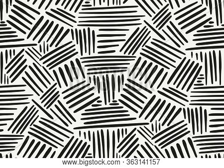 Vector Seamless Pattern With Hand Drawn Brush Strokes And Stripes Hand Painted. Black And White Colo