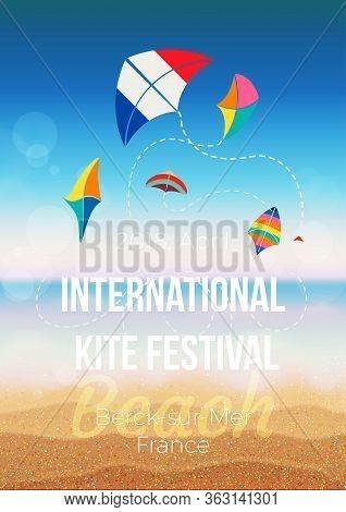 Poster, Flyer, Invitation Template For The Kite Festival. Vector Illustration.