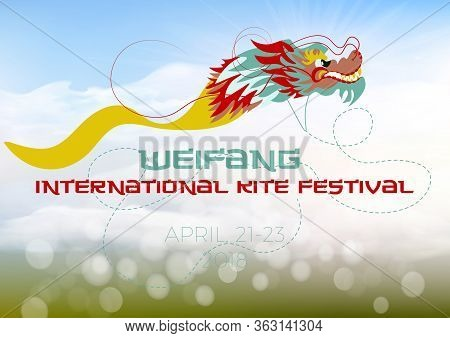 Poster, Flyer, Invitation Template For The China Kite Festival. Flying Dragon Kite In The Sky. Vecto