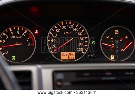 Novosibirsk/ Russia - April 02 2020: Nissan X-trail , Car Dashboard With White  Backlight: Odometer,