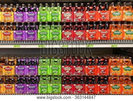 Chandler, Az - March 10, 2020: Grocery Store Shelf With Bottles Of Stewarts Brand Flavored Sodas In