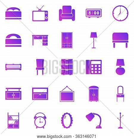 Bedroom Gradient Icons On White Background, Stock Vector