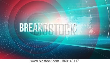 Graphical Abstract Communication Background With Breaking News Text, High-tech And Modern 3d Studio