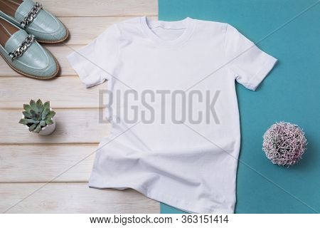 Women's T-shirt Mockup With Turquoise Loafers