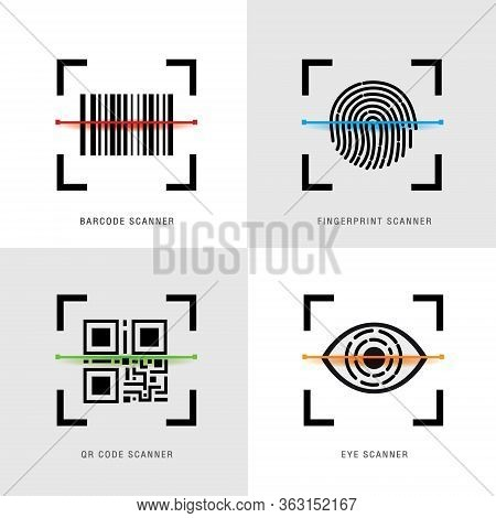 Set Of Scanner Element Icon, Qr Code, Barcode, Fingerprint And Eye Scanner. Black Flat Design For We