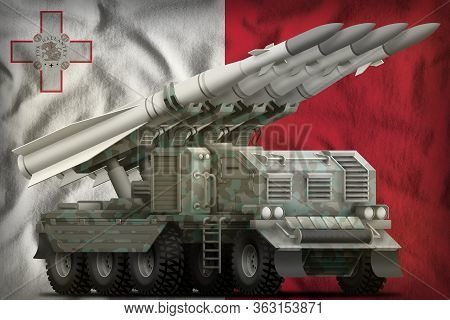 Tactical Short Range Ballistic Missile With Arctic Camouflage On The Malta Flag Background. 3d Illus