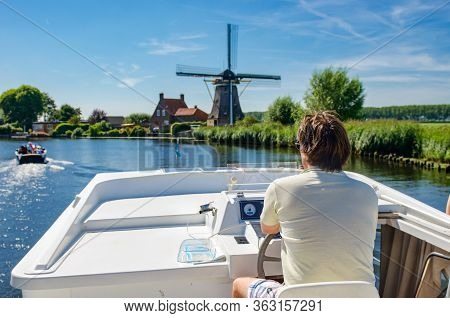 Family Vacation, Summer Holiday Travel On Barge Boat In Canal, Man By Steering Wheel On River Cruise
