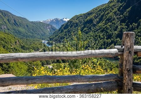 Landscape Of Valley With Beautiful Mountains View, Patagonia, Chile, South America