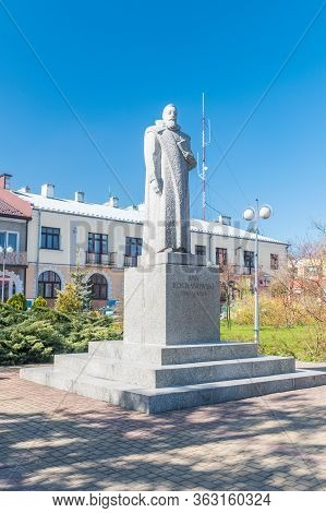 Zwolen, Poland - April 17, 2020: Jan Kochanowski Monument At Jan Kochanowski Square. Jan Kochanowski