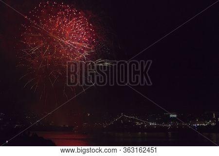Sevastopol, Crimea, Russia - July 28, 2019: Fireworks In Honor Of The Navy Day In The Sevastopol Bay