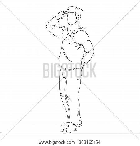 One Continuous Drawing Line Portrait Sailor Seaman In Uniform .single Hand Drawn Art Line Doodle Out