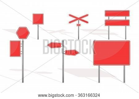 Traffic Roadsign Collection, Vector Isolated Flat Signs Set Transportation Illustration.