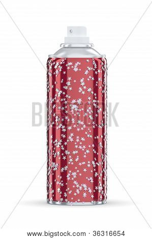 Red Spraycan With Silver Stars