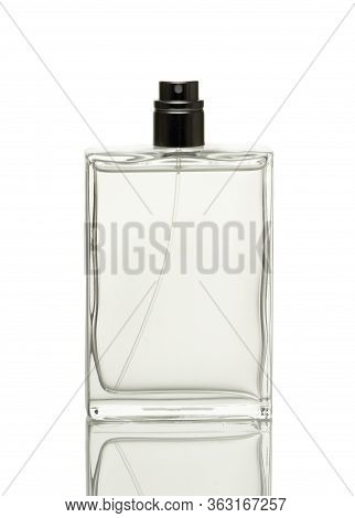 Glass Bottle Filled With Perfume For Men. Isolated On A White Background