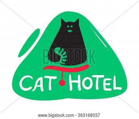 Cat Hotel Banner With Cute Black Kitten With Striped Tail And Creative Typography. Animals Daycare P