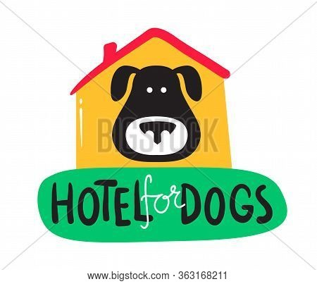 Hotel For Dogs Banner, Hospitality Service For Pets Concept. Cute Black Puppy Look Out Of Booth And