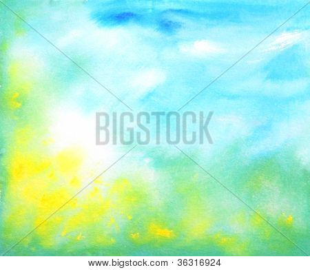 Abstract Hand Drawn Watercolor Background: Summer Landscape With Blue Sky, Green Grass And Yellow Fl