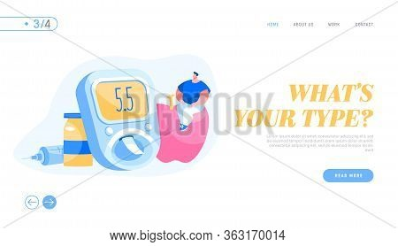 Diabetes Patient Treatment And Lifestyle Landing Page Template. Tiny Male Character Sitting On Huge