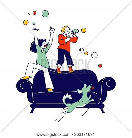 Naughty Hyperactive Children Characters Little Girl And Boy Playing At Home, Blow Soap Bubbles And J