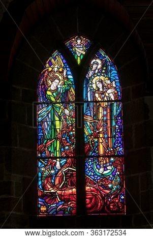 Le Mont-saint-michel, France - September 13, 2018: Stained Glass In Saint Pierre Parish Church. Mont