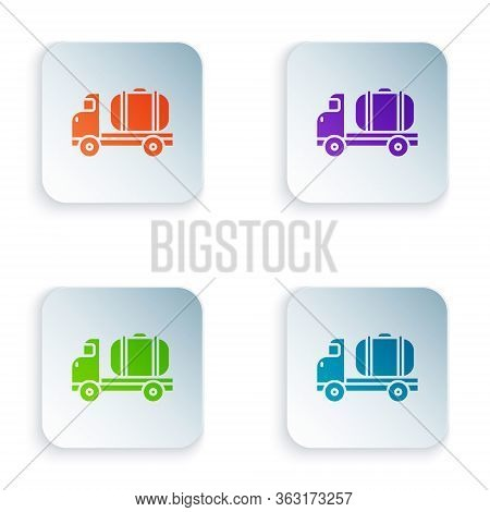 Color Tanker Truck Icon Isolated On White Background. Petroleum Tanker, Petrol Truck, Cistern, Oil T