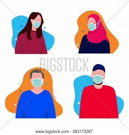 People Wearing Surgical Mask Health Mask For Corona Virus Protection Man Woman Wearing Hijab Scarf