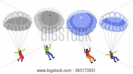 Parachute Skydivers. Parachute Jumping Characters On White, Parachutists Vector Illustration, Skydiv
