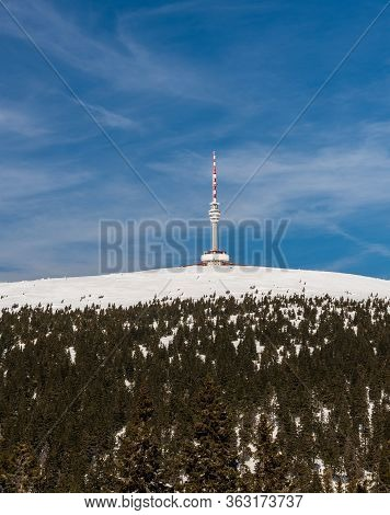 View To Praded Hill With Communication Tower From Ski Slopel Near Petrovy Kameny In Winter Jeseniky