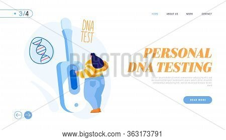 Genetic Testing Technology Landing Page Template. Tiny Female Character Stand At Huge Device For Sam