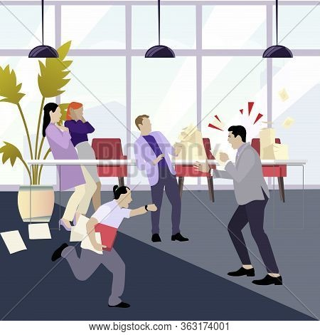 Angry Boss Shouting At Employees. Man Stressfull. Office Manager Panic, Employee Missing, Yelling Ma
