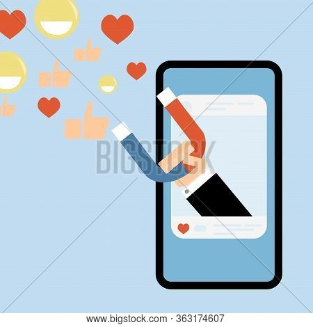 Social Media Influence, Attract Like, Smile And Attention. Influence Online Social Media, Business F