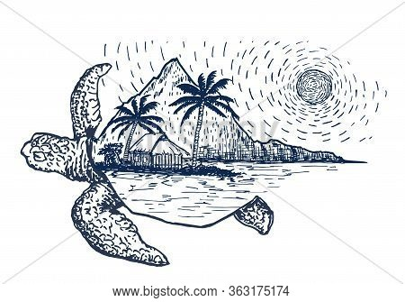 Typography With Turtle Illustration. Turtle In Tattoo Style. Travel To The Sea Concept. Isolated Vec