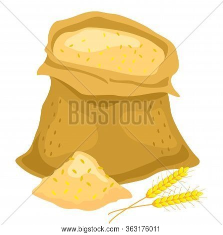 Ears And Wheat Bag, Isolated Vector Illustration. Sack Of Flour Icon. Flat Illustration Of Sack Of F