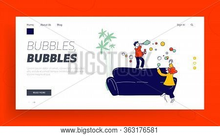 Little Girl And Boy Blow Soap Bubbles And Jumping On Sofa Making Mess In Room Landing Page Template.