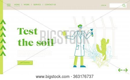 Agriculture, Farming Industry, Botany Science Landing Page Template. Botanist Scientist Character In