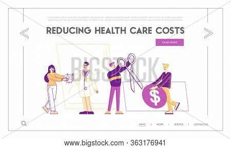 Health Care Cost, Medicine Price, Pharmacy And Accessibility Landing Page Template. Tiny Characters