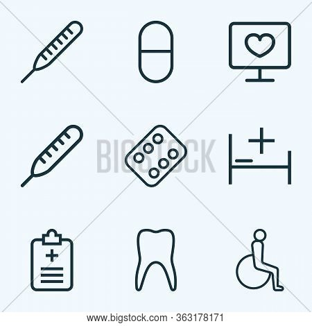 Antibiotic Icons Line Style Set With Bed, Questionnaire, Diagnosis And Other Temperature Elements. I