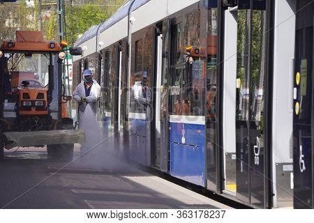 Krakow, Poland 23.04.2020: Sanitation Of Buses And Trams From Contamination, Bacteria And Viruses Du