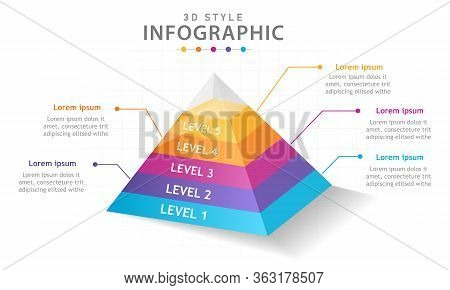 Infographic Template For Business. 5 Steps Modern Mindmap Pyramid Level Diagram, Presentation Vector