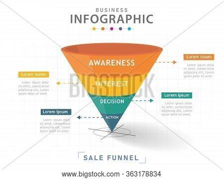 Infographic Template For Business. 4 Steps Modern Sales Funnel Diagram, Presentation Vector Infograp
