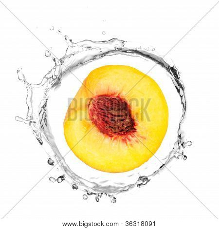 Yellow Peach In Water Splash