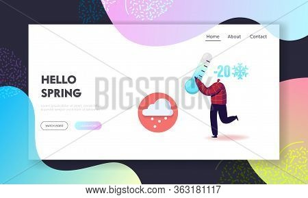 Freezing Springtime Landing Page Template. Happy Cheerful Man Character Holding Huge Thermometer Sho